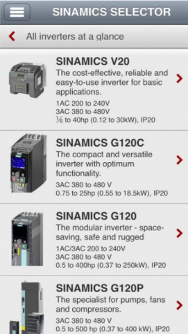 Приложение SINAMICS Selector App