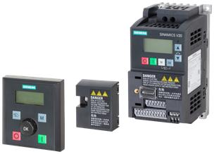 Преобразователь частоты SINAMICS V20, BOP-интерфейс и выносная базовая панель оператора BOP-V20.