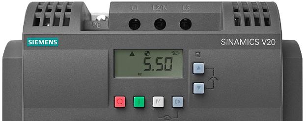 Человеко-машинный интерфейс SINAMICS V20, расположенный на лицевой части преобразователя.